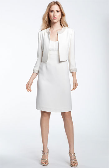 Tahari by Arthur S. Levine Pearl Trim Dress with Bolero
