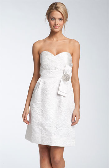 Eliza J Strapless Jacquard Dress
