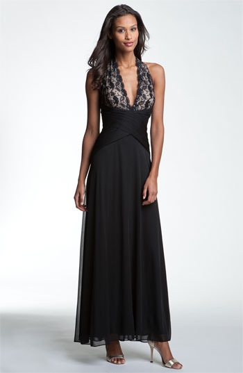 Betsy & Adam Lace & Mesh Halter Gown