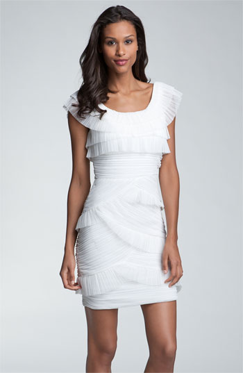 BCBGMAXAZRIA Ruched Mesh Tier Dress