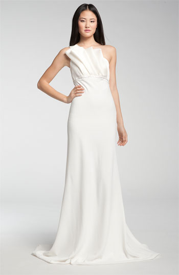 Carmen Marc Valvo One Shoulder Origami Detail Gown