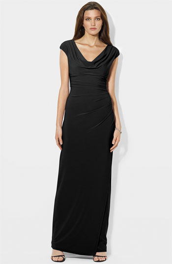 Lauren by Ralph Lauren Cowl Neck Ruched Jersey Gown