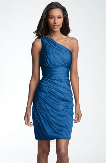 ML Monique Lhuillier Bridesmaids One Shoulder Ruched Chiffon Sheath Dress Nordstrom Exclusive