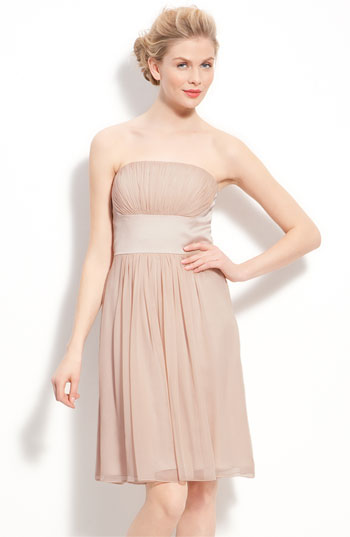 Donna Morgan Chiffon & Satin Strapless Dress