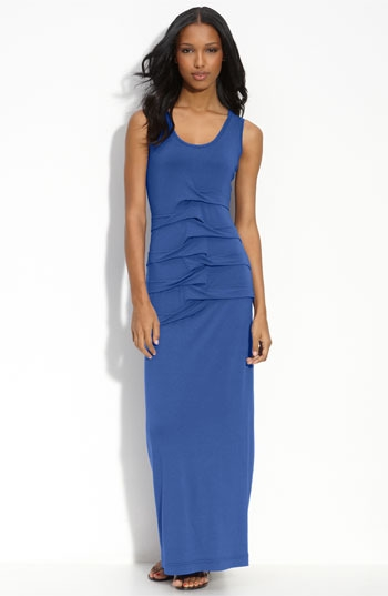 Nicole Miller Pleated Jersey Racerback Maxi Dress