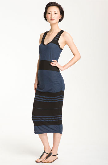 James Perse Ruched Stripe Maxi Tank Dress