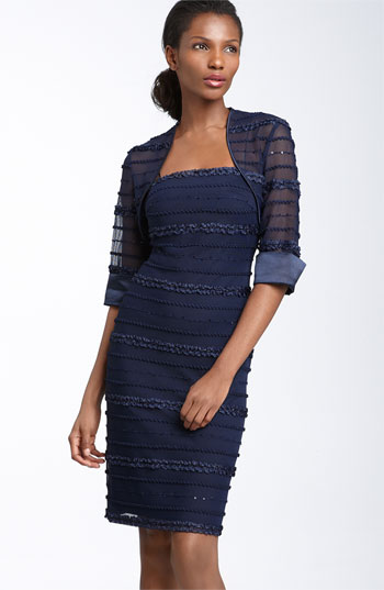 JS Collections Ruffle Stripe Mesh Sheath Dress & Bolero