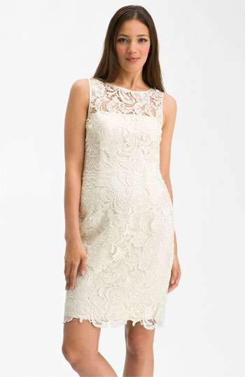 Adrianna Papell Illusion Neck Lace Sheath Dress