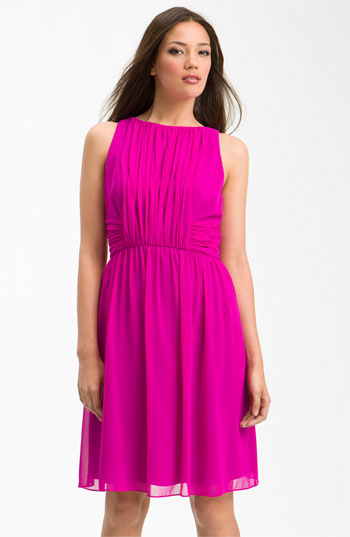Donna Morgan Sleeveless Vertical Pleat Chiffon Dress