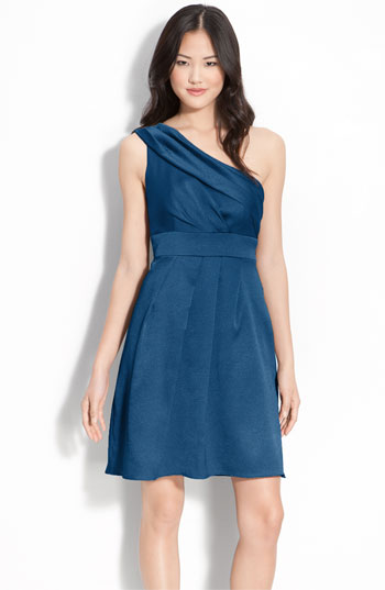 Jenny Yoo Hammered Satin One Shoulder Dress