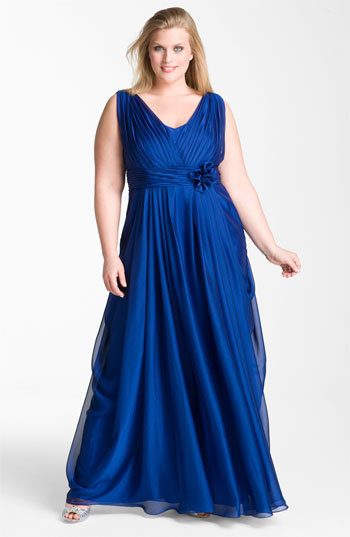 JS Collections Draped Cationic Chiffon Gown Plus