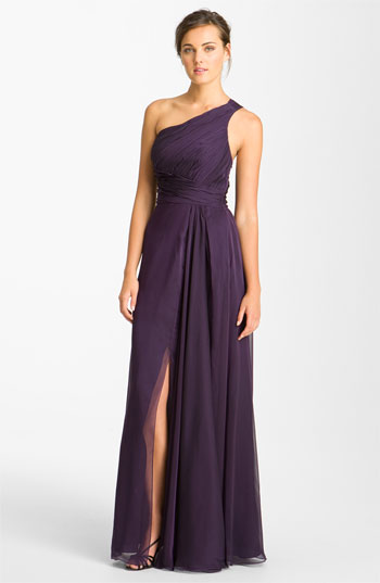ML Monique Lhuillier Bridesmaids One Shoulder Pleated Chiffon Gown Nordstrom Exclusive