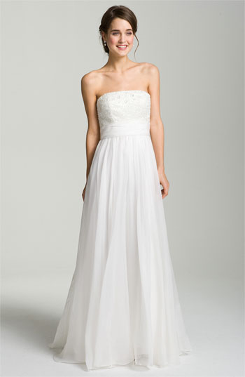 Theia Embellished Strapless Organza Gown