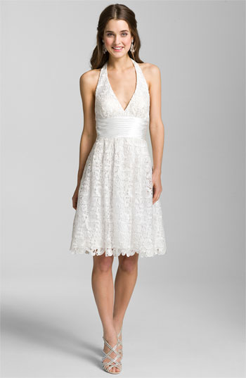 Aidan Mattox Lace Halter Dress