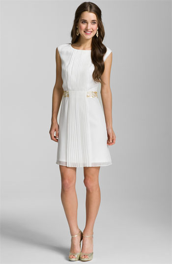 Calvin Klein Pleat Front Chiffon Dress