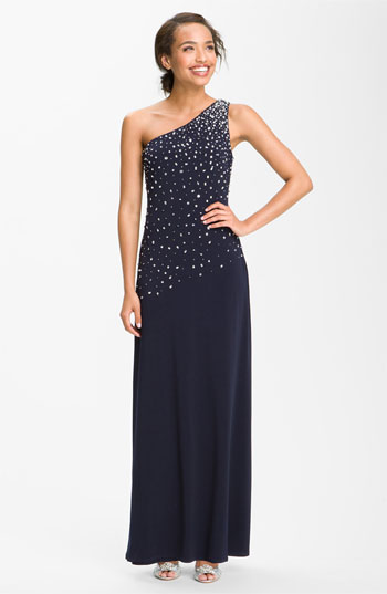 JS Boutique One Shoulder Embellished Jersey Gown