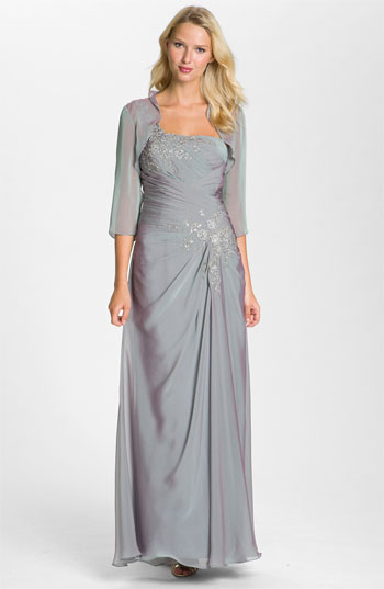 Julietta One Shoulder Embroidered Chiffon Gown & Beaded Bolero