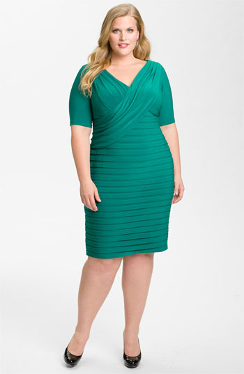 Adrianna Papell Draped Banded Jersey Dress Plus