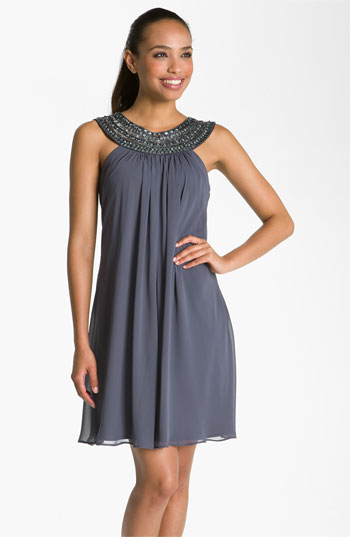 JS Boutique Beaded Chiffon Trapeze Dress
