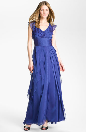 Adrianna Papell Tiered Chiffon Gown