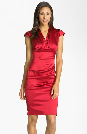 Xscape Pleated Stretch Satin Sheath Dress