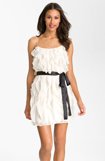 Aidan Mattox Spaghetti Strap Layered Chiffon Dress