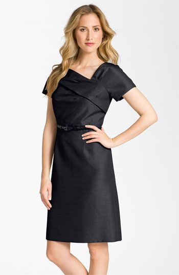 Tahari by Arthur S. Levine Asymmetrical Neckline Belted Jacquard Dress