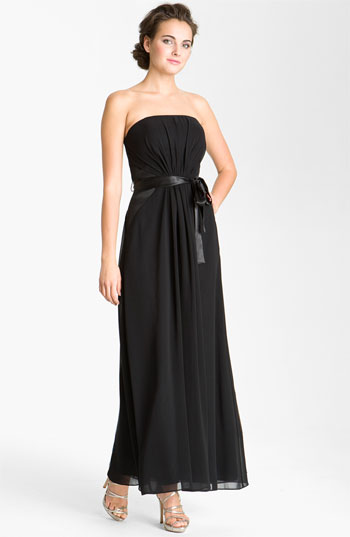 Donna Morgan Strapless Satin Inset Chiffon Gown