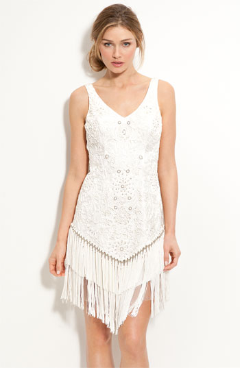 Sue Wong Fringed Sleeveless Sheath Dress