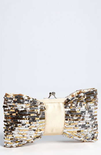 Natasha Couture Sequin Bow Clutch