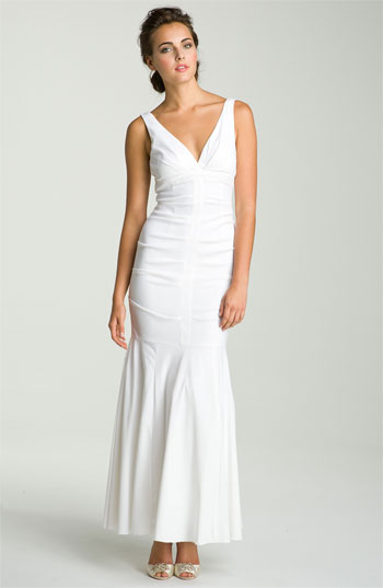 Xscape Ruched V-Neck Trumpet Gown