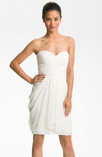 Maggy London Draped Sweetheart Chiffon Dress