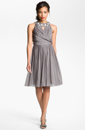 Suzi Chin for Maggy Boutique Embellished Collar Fit & Flare Dress