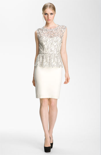 Alice  Olivia 'Shovan' Lace Overlay Peplum Dress