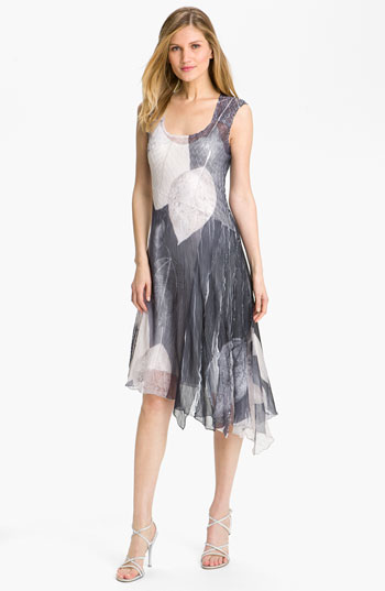 Komarov Printed Asymmetrical Hem Chiffon Dress