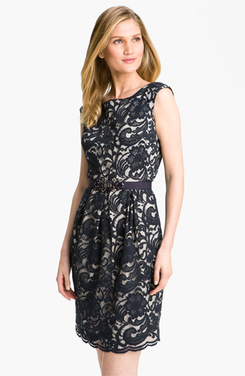 Eliza J Jewel Belted Lace Sheath Dress