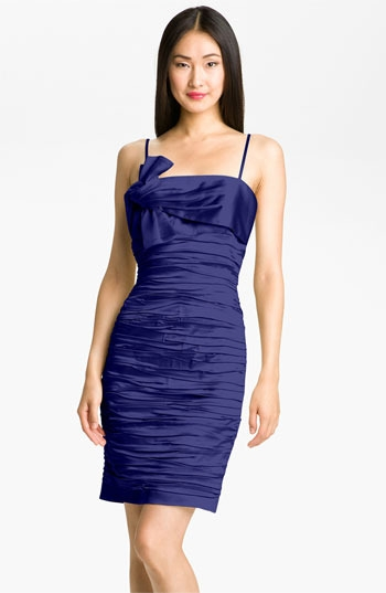Calvin Klein Ruched Satin Sheath Dress
