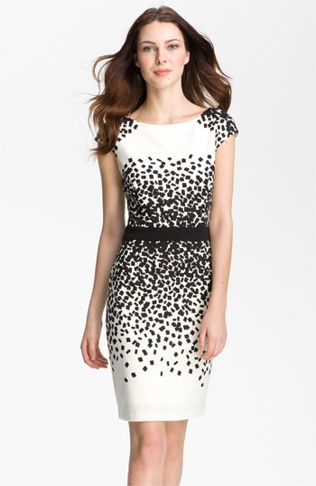 Maggy London Scatter Print Ponte Sheath Dress