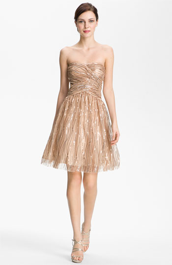 Hailey by Adrianna Papell Strapless Sequined Mesh Dress