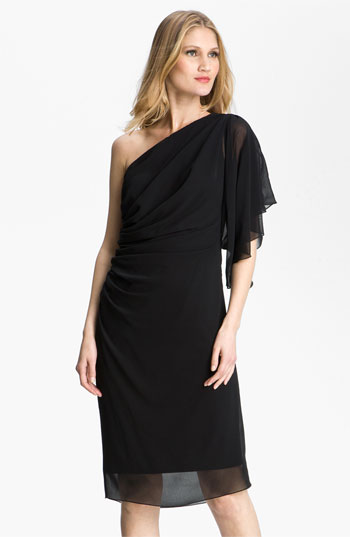 T by Tadashi One Shoulder Chiffon Dress