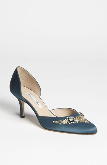 Oscar de la Renta 'Binato' Beaded Satin d'Orsay Pump