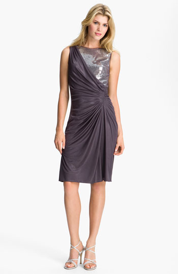 Adrianna Papell Sequined Jersey Drape Dress