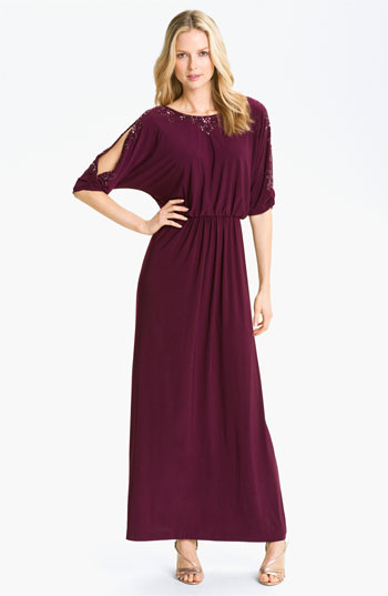 Alex Evenings Embellished Split Sleeve Jersey Blouson Gown