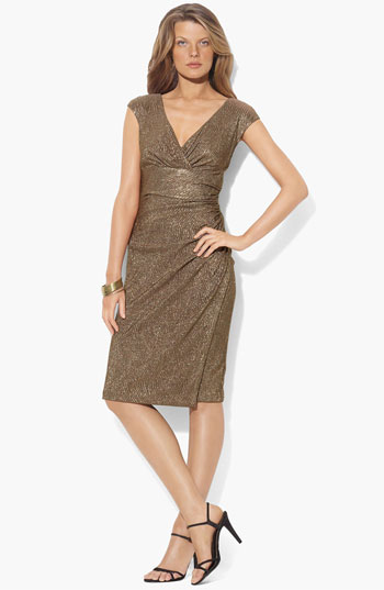 Lauren by Ralph Lauren Metallic Surplice Sheath Dress