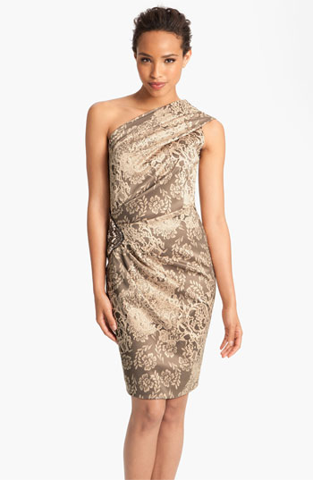 Eliza J Print One Shoulder Satin Sheath Dress