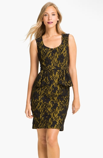 BCBGMAXAZRIA Lace Overlay Peplum Sheath Dress