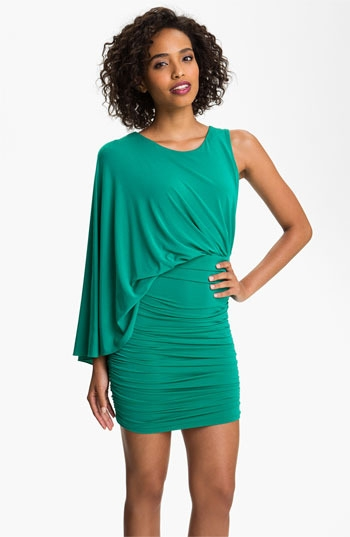 BCBGMAXAZRIA One Shoulder Jersey Blouson Dress