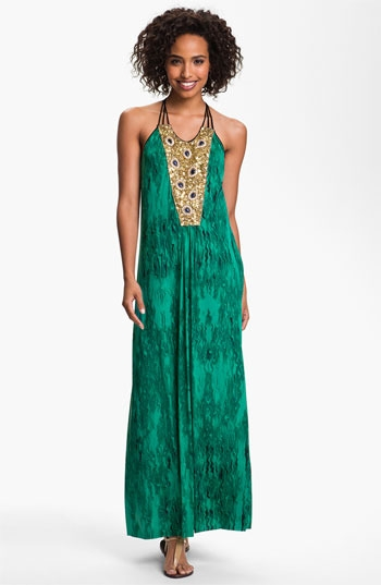T Bags Embellished Panel Jersey Maxi Dress