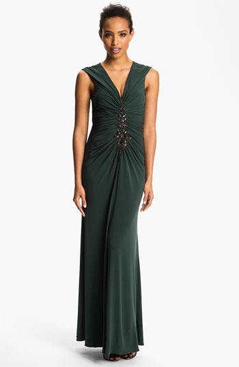 JS Boutique Embellished Front Ruched Jersey Gown