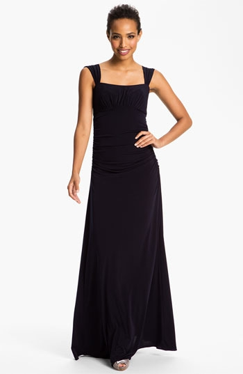 Amsale Square Neck Ruched Jersey Gown